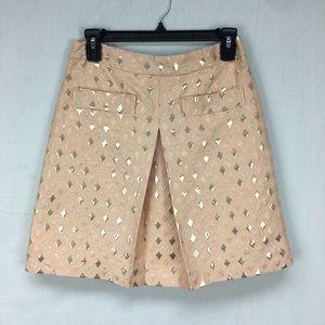 J. Crew Peach Metallic Diamond Jacquard Skirt